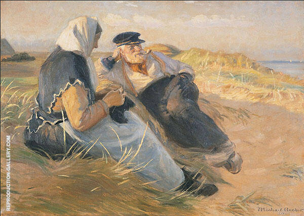 Fisherman Anders Velle and His Wife Ane on Skagen By Michael Peter Ancher