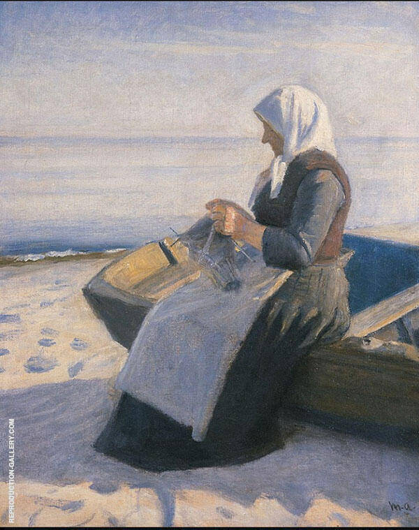 Fisherman's Wife Knitting on Skagen Beach Painting By Michael Peter Ancher