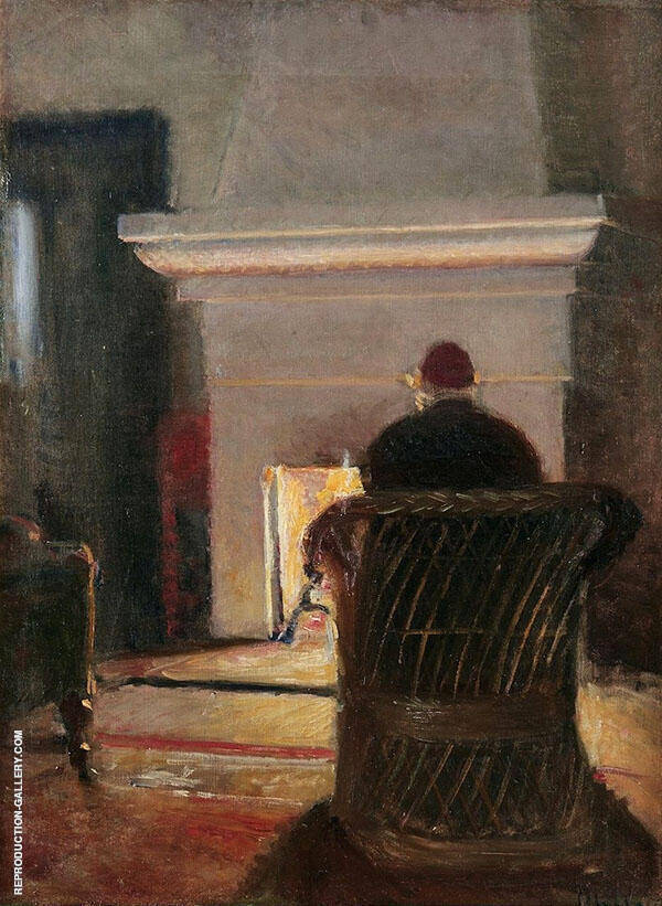 Interior with Holger Drachmann at The Fireplace in Villa Pax Skagen By Michael Peter Ancher
