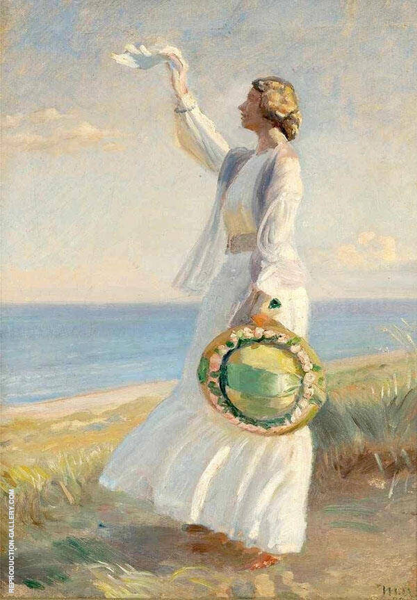 Marie Dinesen on The Beach Painting By Michael Peter Ancher