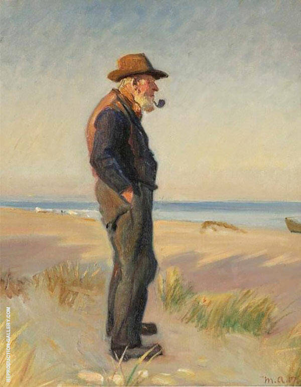 Pipe Smoking Fishermen at Skagen Beach Painting By Michael Peter Ancher