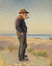 Pipe Smoking Fishermen at Skagen Beach By Michael Peter Ancher