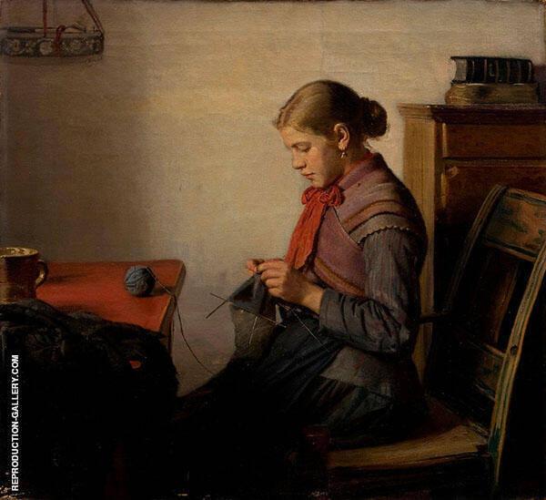 Skagen Girl Maren Sofie Knitting Painting By Michael Peter Ancher