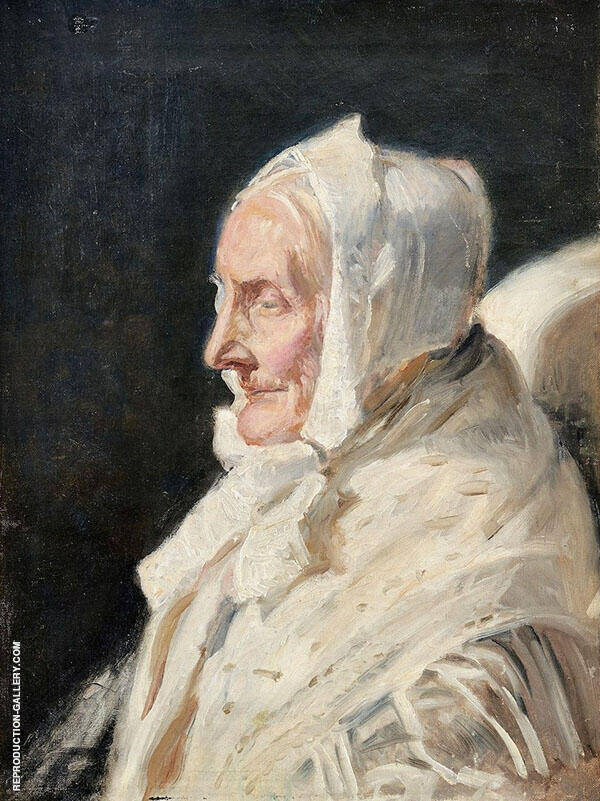 The Artist's Mother in Law in Profile with a White Bonnet and a White Shawl By Michael Peter Ancher