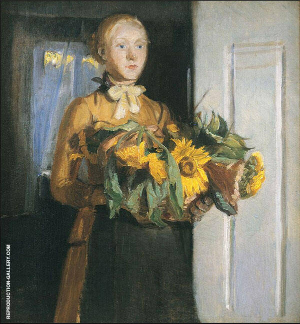 The Girl with the Sunflowers Painting By Michael Peter Ancher