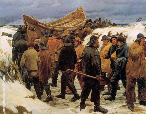 The Lifeboat is Taken Though The Dunes Sun By Michael Peter Ancher