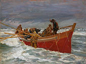 The Red Lifeboat on its way out to the Sea By Michael Peter Ancher