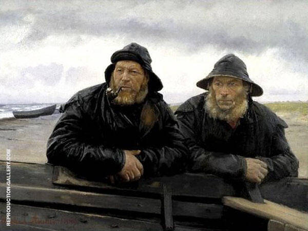 Two Fisherman by a Boat Painting By Michael Peter Ancher
