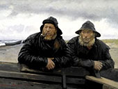 Two Fisherman by a Boat By Michael Peter Ancher