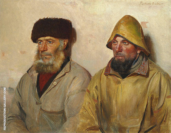 Two Fisherman from Skagen Painting By Michael Peter Ancher
