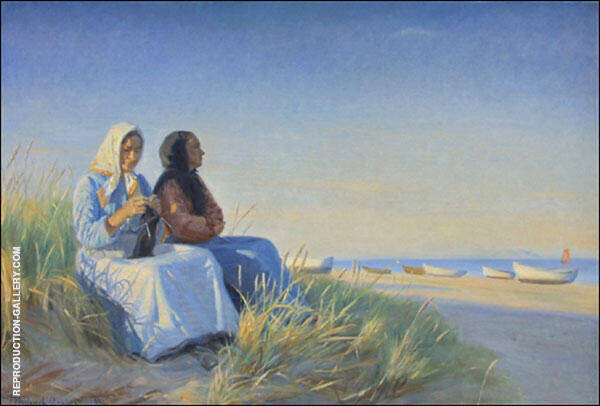 Two Fishermen Wives in The Dunes at The Beach of Skagen By Michael Peter Ancher
