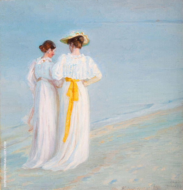 Two Ladies on The Beach Painting By Michael Peter Ancher