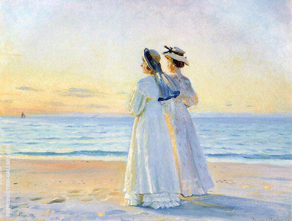 Two Women on The Beach at Skagen Painting By Michael Peter Ancher