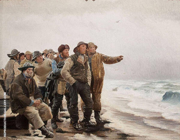 Will He Round The Point Painting By Michael Peter Ancher