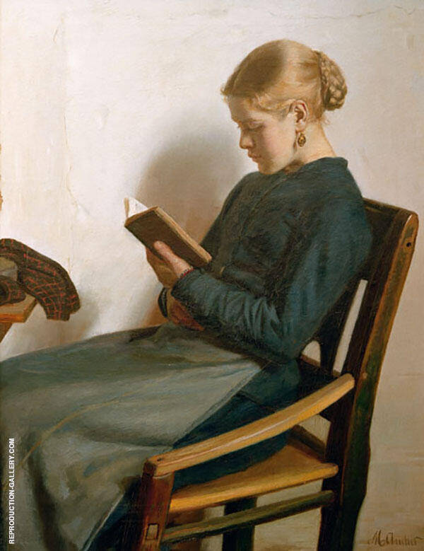 Young Girl Reading Painting By Michael Peter Ancher - Reproduction Gallery