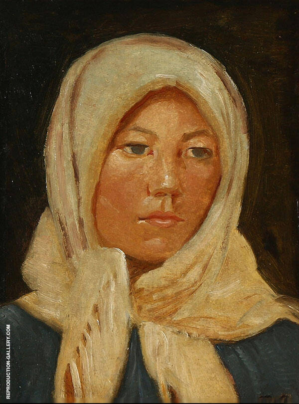 Young Woman from Skagen Wearing a Scarf By Michael Peter Ancher