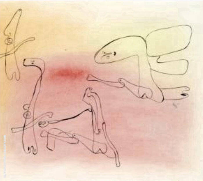 Untitled Line Painting By Joan Miro