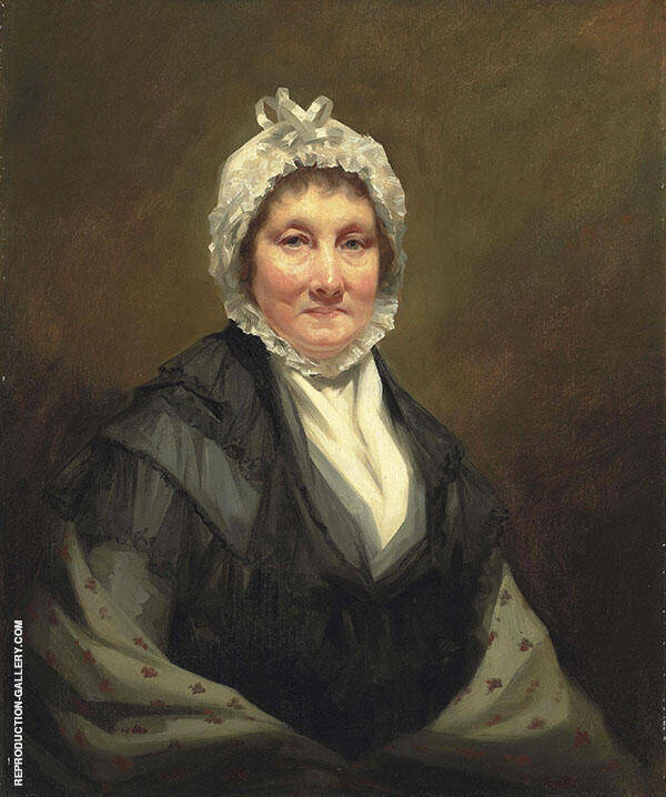 Portrait of The Hon Mrs King of Dunira Half Length in Black Dress and Grey Shawl with a White Bonnet Painting By ...