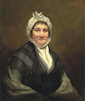 Portrait of The Hon Mrs King of Dunira Half Length in Black Dress and Grey Shawl with a White Bonnet By Sir Henry Raeburn