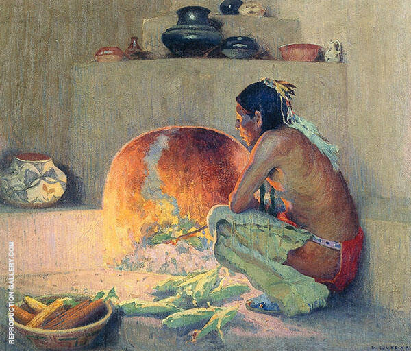 by The Fire c1921 By E. Irving Couse