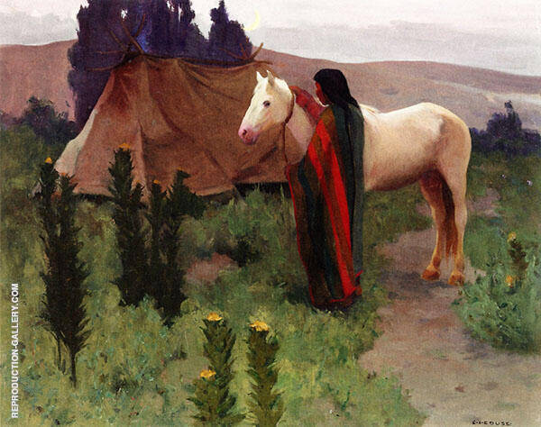 Evening Scene with White Horse By E. Irving Couse