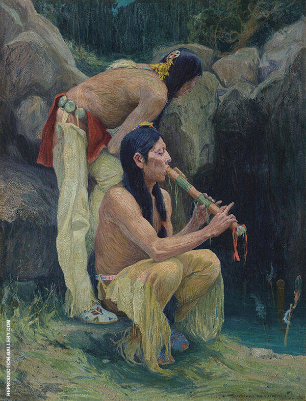Flute Player at The Spring By E. Irving Couse