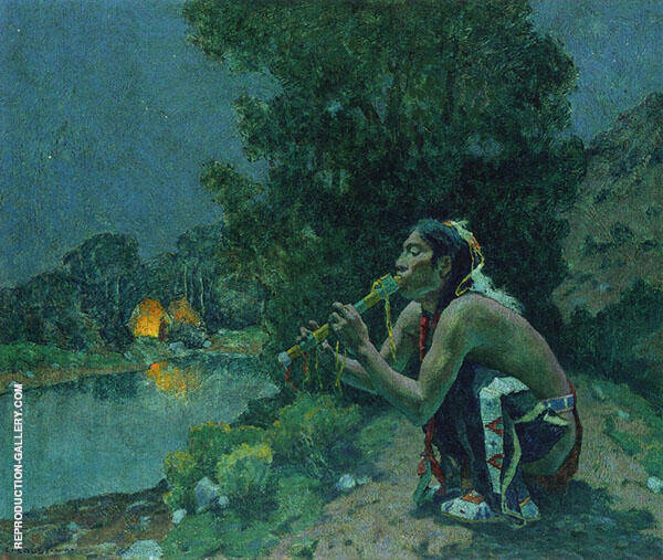 Flute Song Moonlight 1927 By E. Irving Couse