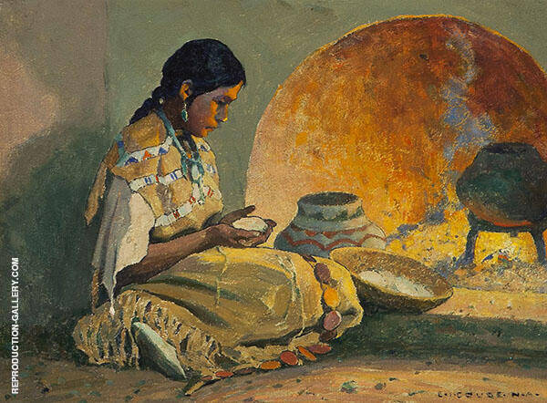 Girl by The Oven By E. Irving Couse