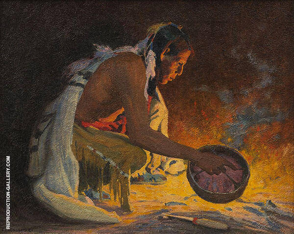 Indian by Firelight By E. Irving Couse