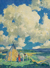 Indian Camp Sunlight By E. Irving Couse