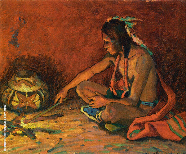 Pueblo Fireside 1930 By E. Irving Couse