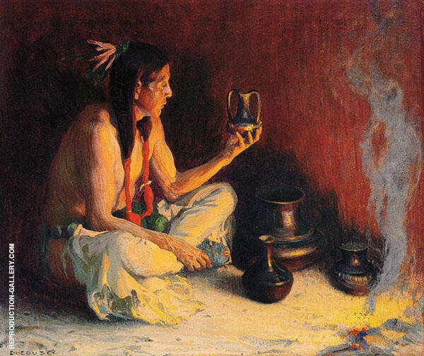 Taos Indian and Pottery 1920 By E. Irving Couse