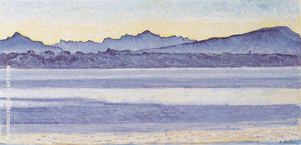 Lake Geneva with Mont Blanc Morning Light 1918 By Ferdinand Hodler