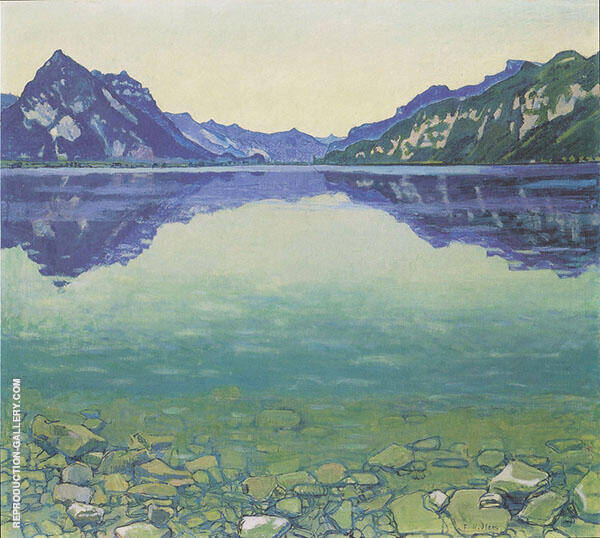 Lake Thun with Symmertrical Reflection Before Sunrise 1904 By Ferdinand Hodler
