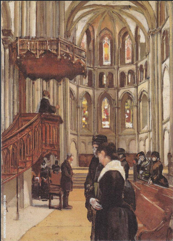 Prayer in The Saint Pierre Cathedral in Geneva 1882 By Ferdinand Hodler