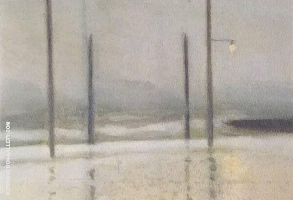 Wet Night, Brighton Painting By Clarice Beckett - Reproduction Gallery