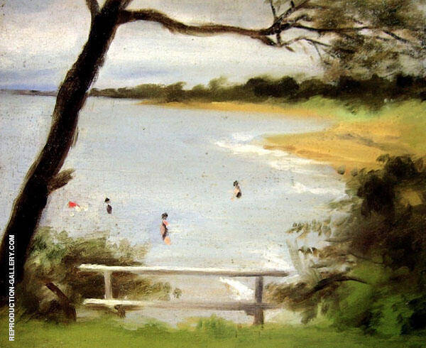 Bathers, Beaumaris Painting By Clarice Beckett - Reproduction Gallery
