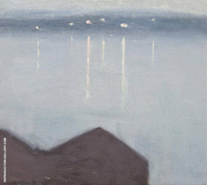 Lights Across the Bay Painting By Clarice Beckett - Reproduction Gallery