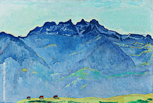The Dents du Midi from Champery 1916 Painting By Ferdinand Hodler