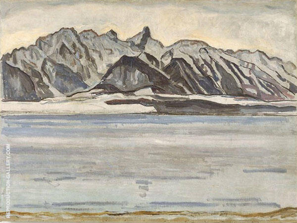 Thunersee and Stockhornkette in Winter 1912 Painting By Ferdinand Hodler