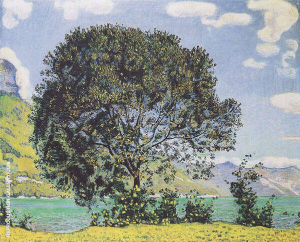 Tree on Lake Brienz from Bodeli 1906 Painting By Ferdinand Hodler