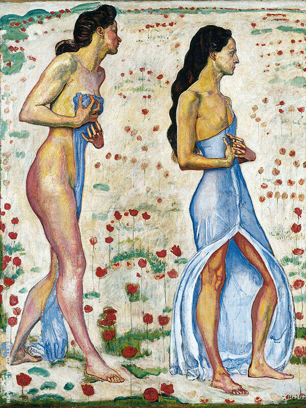 Two Women in Flowers Painting By Ferdinand Hodler - Reproduction Gallery