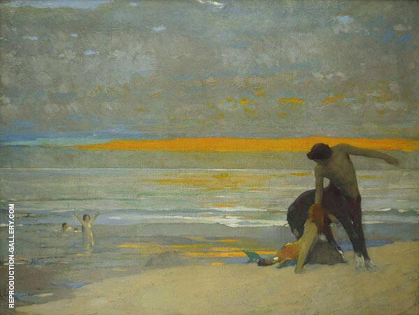 Centaur and Mermaid on Beach at Sunset Painting By Arthur Frank Mathews