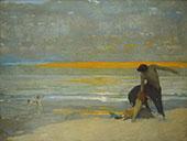Centaur and Mermaid on Beach at Sunset By Arthur Frank Mathews