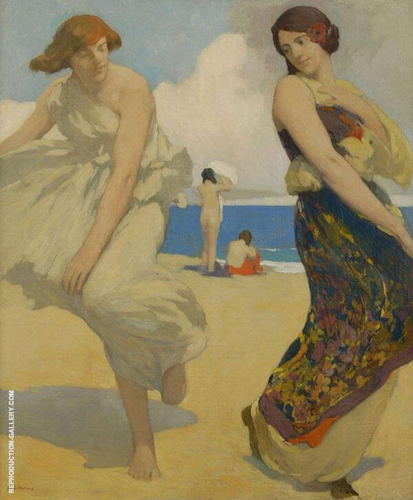 Dancing Girls on Carmel Beach Painting By Arthur Frank Mathews
