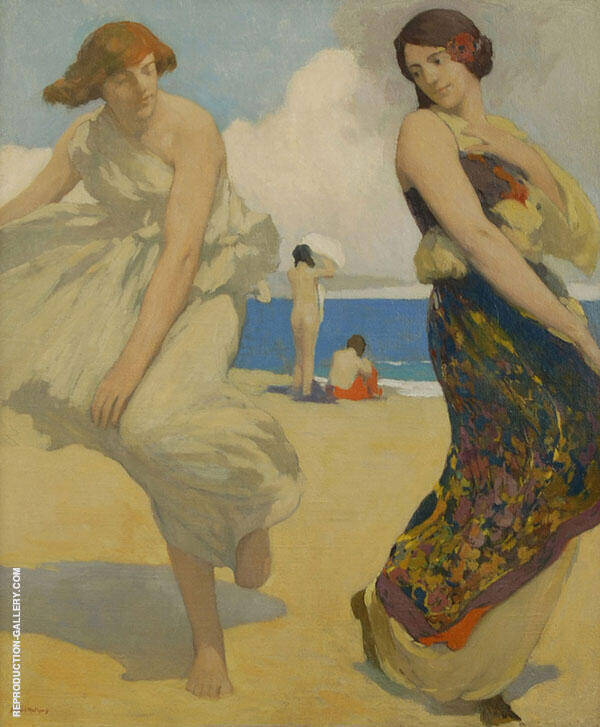 Dancing Girls on Carmel Beach By Arthur Frank Mathews
