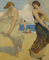 Dancing Girls on Carmel Beach By Arthur Frank Mathews