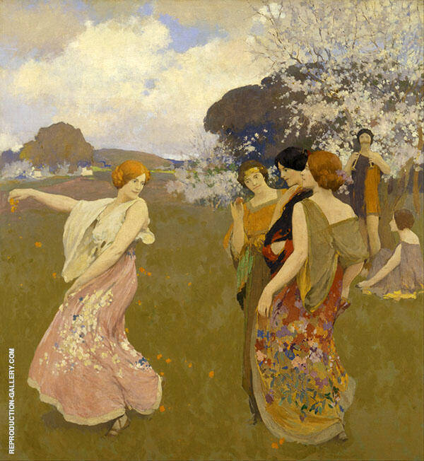 Spring Dance Painting By Arthur Frank Mathews - Reproduction Gallery
