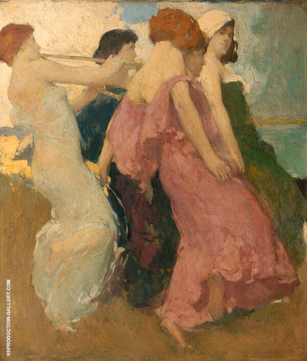 The Dancers Painting By Arthur Frank Mathews - Reproduction Gallery