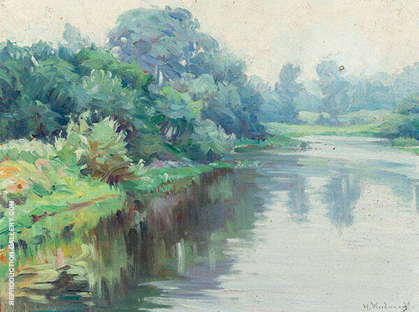 A Quiet River on a Grey Day By Mabel May Woodward